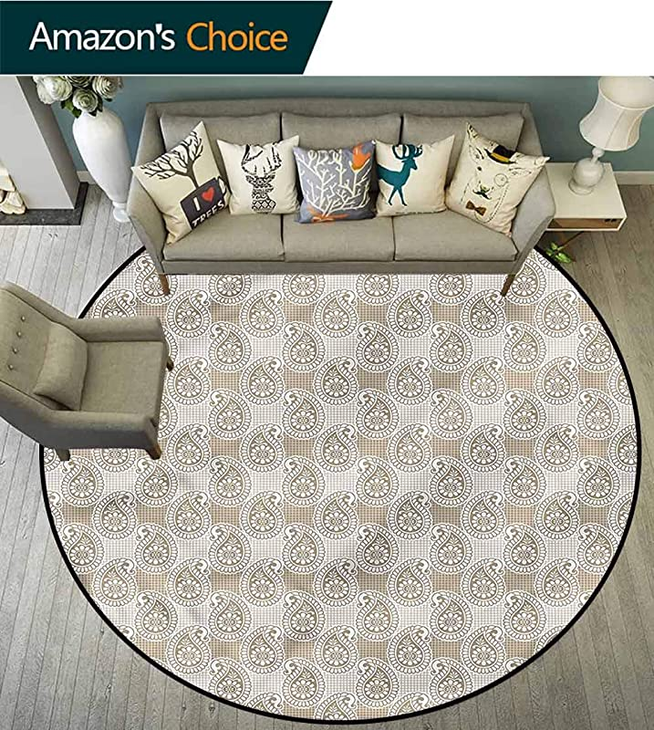 RUGSMAT Traditional Small Round Rug Carpet Curved Tip Paisleys Living Dinning Room And Bedroom Rugs Diameter 24
