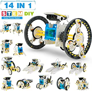 Luxuriate - 14-in-1 Solar Robot Toys, Education Science Experiment Kits for Kids Ages 8-12, 190 Pieces Building Set for Bo...