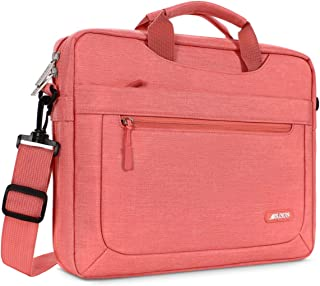 MOSISO Laptop Shoulder Bag Compatible with 13-13.3 Inch MacBook Air (Including 2018),MacBook Pro,New MacBook Pro USB-C with Adjustable Depth at Bottom,Polyester Messenger Briefcase Sleeve,Living Coral