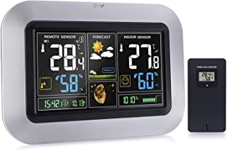 Protmex Weather Station, PT3382 Forecast Station Atomic Clock Digital Color Forecast Station with Wireless Remote Sensor Barometer, Temperature, Humidity Monitor Color Display