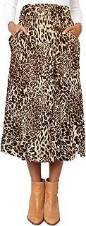 Women's High Waist Polka Dot Leopard Pleated Midi Skirt with Pockets