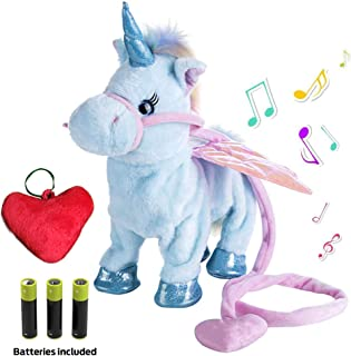 Plush Unicorn Toy Toys for Girls Electric Blue Pet W/BONUS GIFT Walking Singing Unicorns Interactive Sound Animals Stuffed Animal Puppy Baby Girl Gifts for Babies 8 5 18 Toddlers BATTERIES INCLUDED