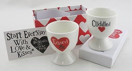 """Preisvergleich für The Brightside Valentines Eierbecher 2er-Set """"Kissed"""" und """"Cuddled"""", in Geschenkverpackung"""