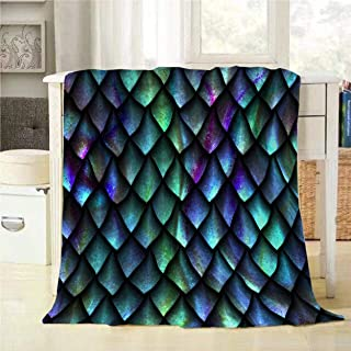 Mugod Reptile Skin Throw Blanket 3D Seamless Texture of Dragon Scales Decorative Soft Warm Cozy Flannel Plush Throws Blankets for Bedding Sofa Couch 60 X 80 Inch