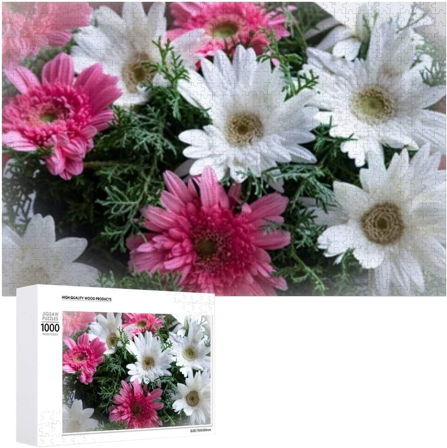 Group Pink White Gerbera Flowers - Puzzles for Jigsaw 1000 Adult Max 52% OFF supreme