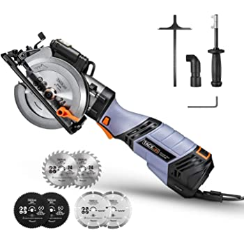 """6.2A TACKLIFE Premium, Electric Mini Circular Saw with 6 Variable Speed, 6 Blades(5"""" & 4-1/2""""), Unique Metal Handle, Pure Copper Motor, Laser Guide, 10Feet Cord, Electric Circular Saw- TCS115E"""