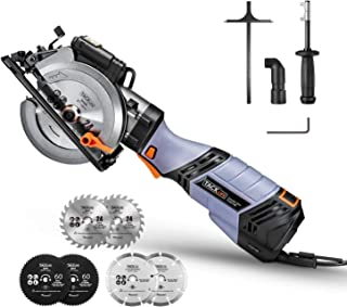 """6.2A TACKLIFE Premium, Electric Mini Circular Saw with 6 Variable Speed, 6 Blades(5"""" & 4-1/2""""), Unique Metal Handle, Pure ..."""