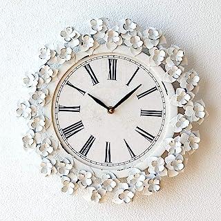 掛け時計 おしゃれ 花 かわいい アンティーク 白 アイアンフラワークロック [cov1512]
