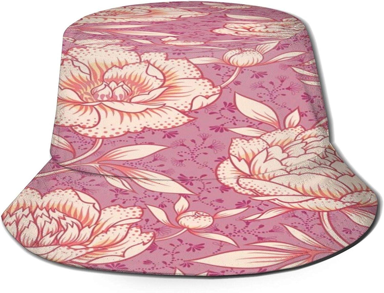 Peony Pink Pattern Bucket Hat Unisex Sun Hat Summer Packable Fisherman Hats Black