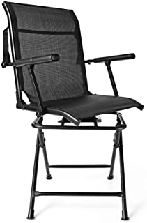 GYMAX Folding Hunting Chair, Portable 360° Silent Swivel...