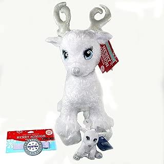 Build A Bear Workshop Glisten White Merry Mission Reindeer Plush with Glisten Christmas Tree Ornament Bonus