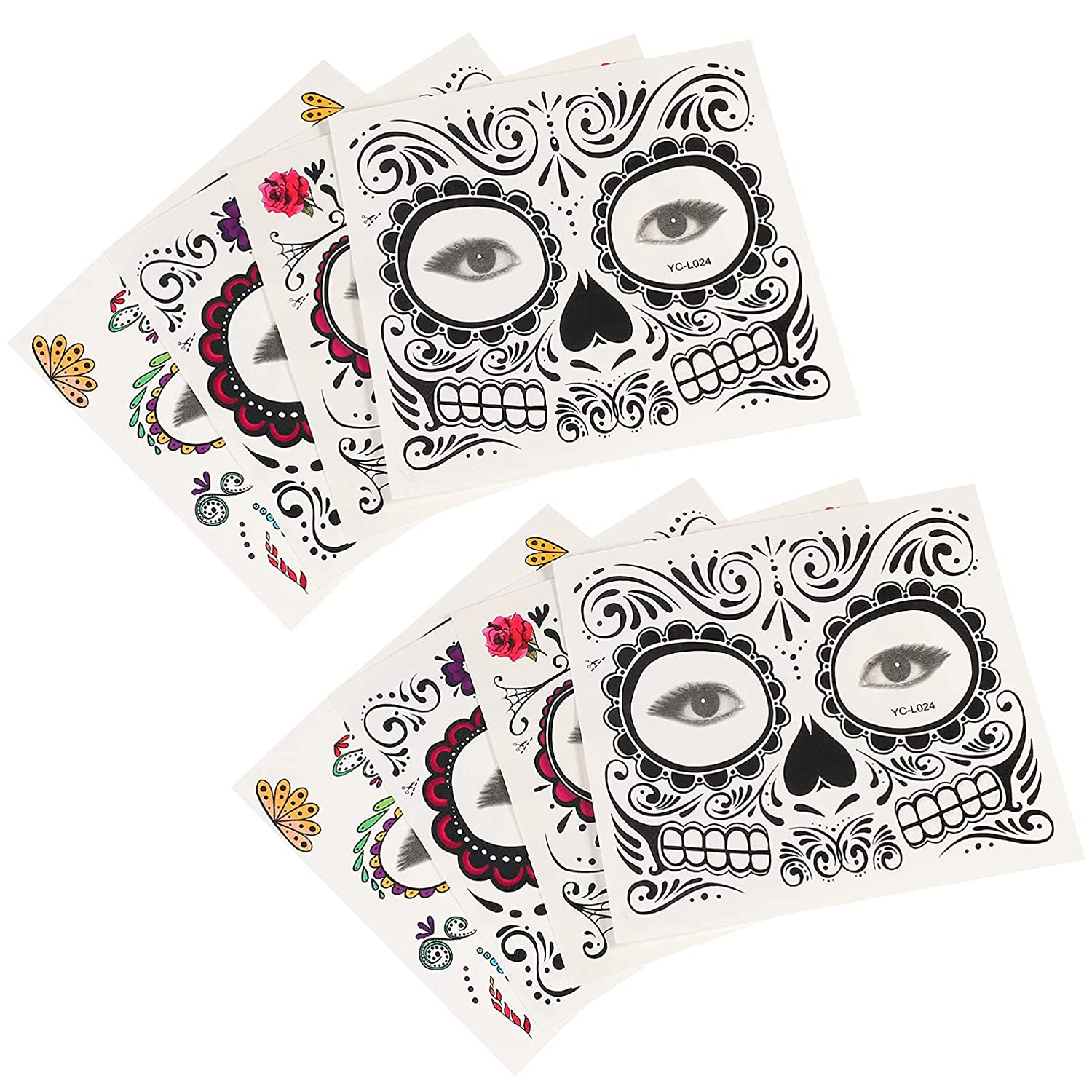 FRCOLOR sold out Max 76% OFF 8 Sheets Face Tattoo for Temp Skull Halloween Women Web