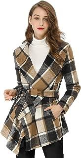 Women's Turn Down Collar Asymmetric Hem Thin Plaids Wrap Coat