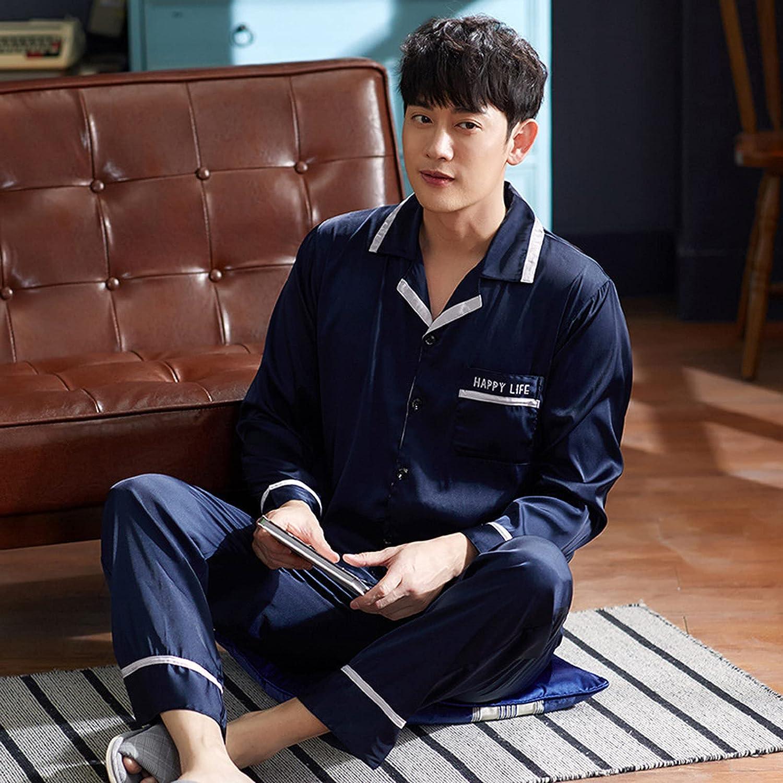 ML S HJDY Silk Satin Men Pajamas Set Fashion Sleepwear Long Sleeve Suit Casual Two-Piece Pyjama Autumn Elastic Homewear,Blue,XXL
