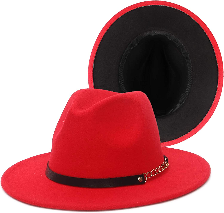 EOZY Womens Fedora Hats, Two Tone Panama Hat Wide Brim Fedora Hats for Women Men