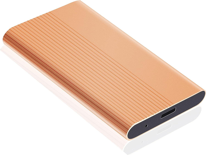 External Hard Drive,Hard Drive 1TB 2TB Portable Slim External Hard Drive Compatible with PC Laptop and Mac(1TB Golden)