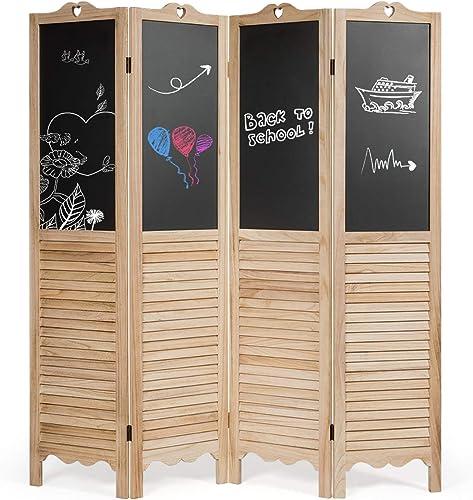 lowest Giantex 5.7 Ft Folding Screen, 4 online Panel Screen Room Divider outlet online sale w/ Chalkboard Panels, Indoor Room Dividers for Bedroom, Living Room, Office, Restaurant (Natural) outlet sale