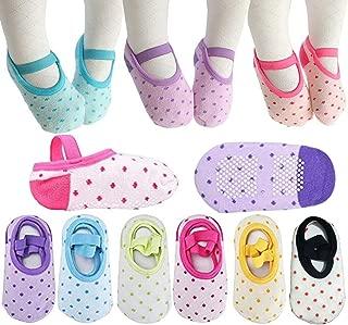 Toddler Girl Socks Baby Dot Mary Jane Non Skid Dress Socks With Grips Anit Slip Little Girls Cotton Socks (8-30 Months) 6 Pairs