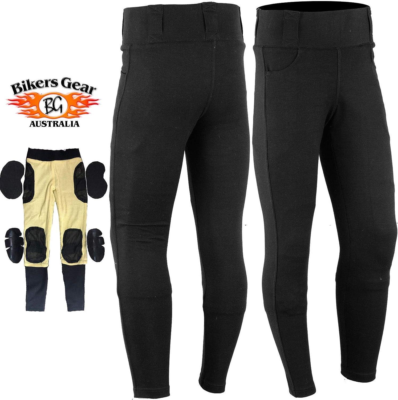 Short Leg GREAT BIKERS GEAR Motorcycle Motorbike Super Leggings Pants Ladies Kevlar Lined Protective Motorcycle Women Leggings with Removable CE Armour,
