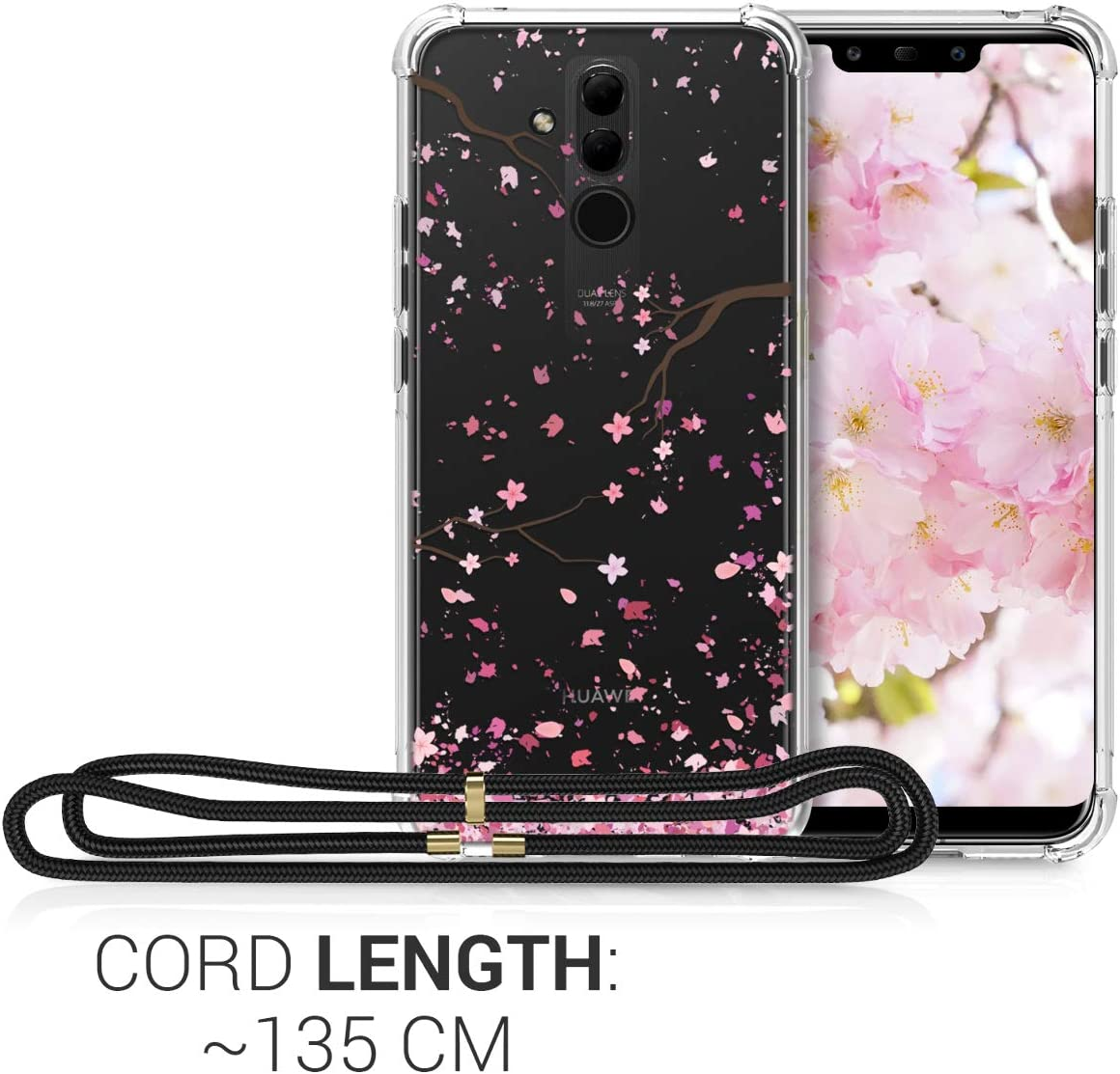 Brushed Heart White//Transparent kwmobile Crossbody Case Compatible with Huawei Mate 20 Lite Clear TPU Cell Phone Mobile Cover Holder with Neck Cord Lanyard Strap