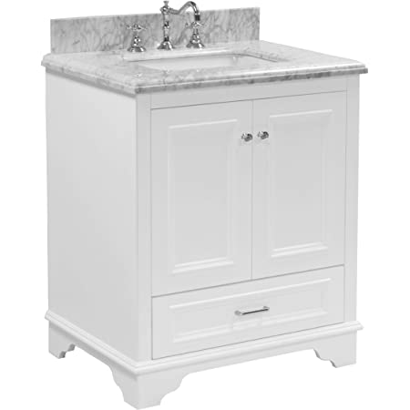 Amazon Com Nantucket 30 Inch Bathroom Vanity Carrara White Includes White Cabinet With Authentic Italian Carrara Marble Countertop And White Ceramic Sink Home Improvement