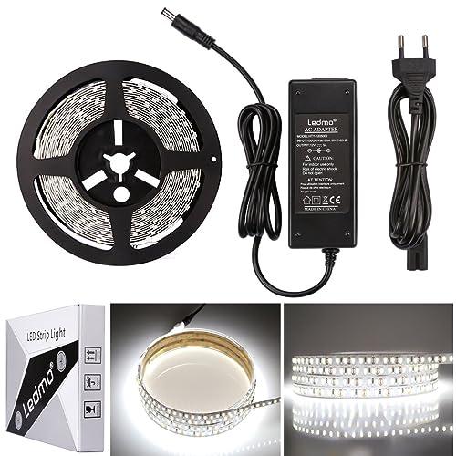 LEDMO KIT Ruban LED,DC12V SMD 5630-300LEDs Ruban LED,IP20 Non-étanche Blanc Froid Lumière Bande Lumineuse LED,300LEDs,Pack avec Bande LED 5M et Transformateur 12V 5A.