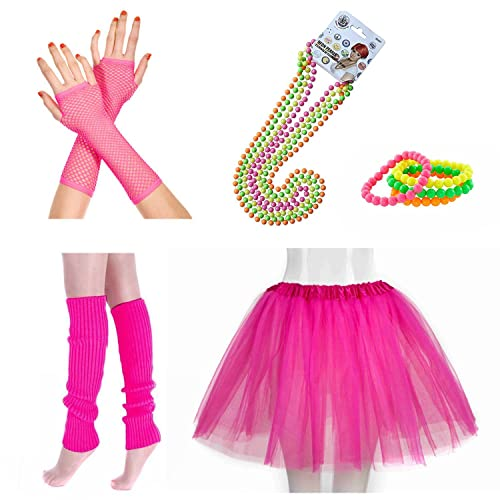 e9bd36c3aa INNOBASE 80s Fancy Dress Neon Adult Tutu,Leg Warmers,Fishnet Pink  Gloves,Fluorescent