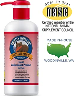 Grizzly Wild Antarctic Krill Oil All-Natural Antioxidant Dog Food Supplement, 8 oz