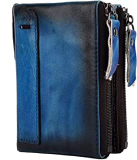 "Men RFID Blocking Wallet Small Vintage Crazy Horse Leather Short Purse Bifold (4.8"" x 3.7"" x 1.1"", Brush off Leather - Ret..."