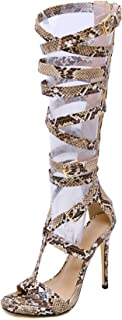 Women Sandals High Heel Sexy Snake Open Toe Zipper Big Size 5.5-11 Fashion Summer Boots Knee High Boot