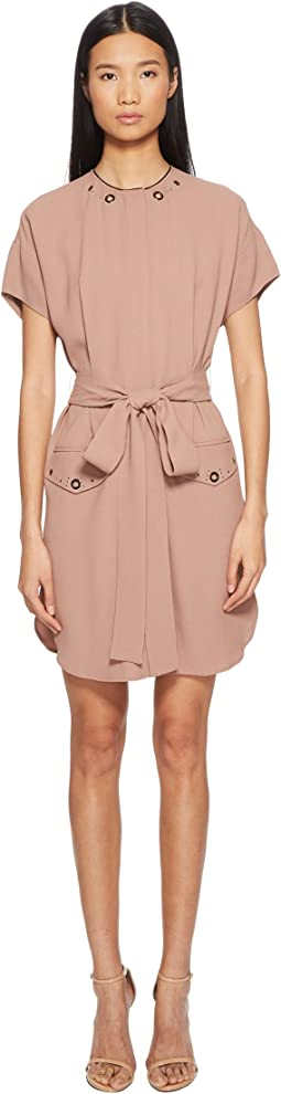 Darcie Short Sleeve Tie Waist Crepe Dress