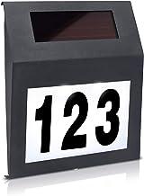 Aufun LED Beleuchtete Hausnummer mit 2 LED Solarhausnummer Edelstahl Solar Hausnummernleuchte LED Beleuchtete Hausnumme LE...