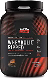 GNC AMP Wheybolic Ripped, Chocolate Peanut Butter, 22 Servings, Contains 40g Protein and 15g BCAA Per Serving