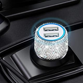 Dual USB Bling Car Charger, Aymla Women Cute Car Accessories Compatible for iPhone 12/11/Pro/Max/XS/XR/8/Plus, Samsung Galaxy S21/S20/S10/S9/S8/S7/A10s Rhinestone Car Charger Crystal Car Decorations
