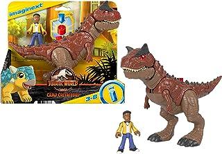 Imaginext Fisher-Price Jurassic World Camp Cretácico Carnotaurus Toro dinosaurio & Darius Figura Set para niños preescolares de 3 a 8 años