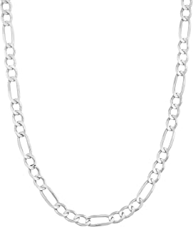 925 Sterling Silver 3MM 3.5MM, 4MM, 4.5MM Figaro Link Chain Necklace - Silver Figaro Link Necklace for Men and Women18-30