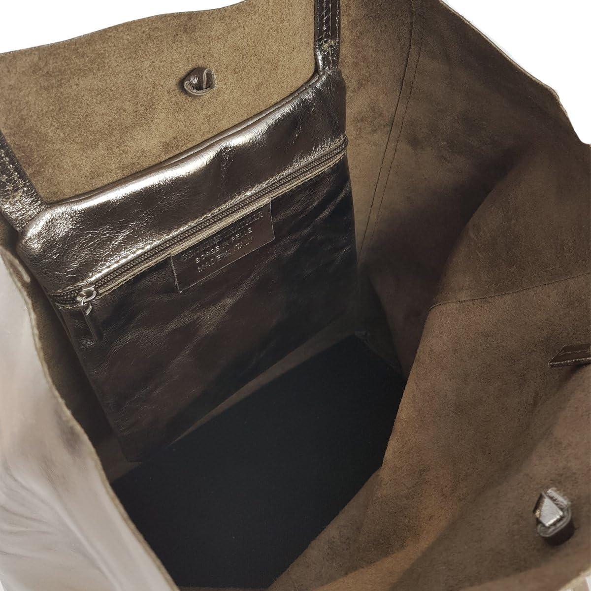 Freyday Sac cabas en cuir véritable pour femme avec poche intérieure dans de nombreuses couleurs, sac à bandoulière, look métallique Laiton Métallisé