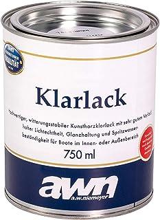Bootslack 1K Klarlack Eine Komponente Holz Lack UV Schutz Glänzend Außen und Innen 750 ml Ergiebigkeit ca. 12,0 m²/l