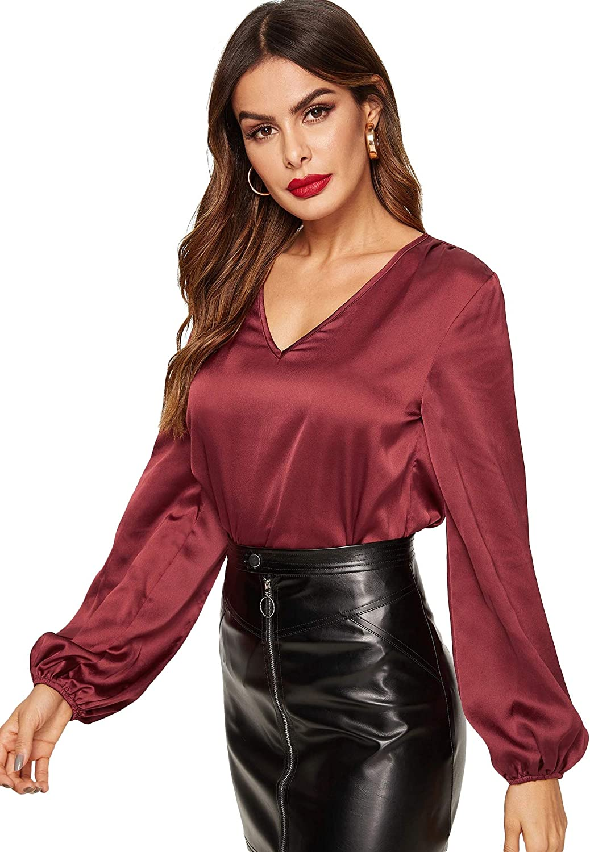 ROMWE Womens Elegant V-Neck Bishop Long Sleeve Casual Satin Blouse Top