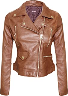 Instar Mode Women's Long Sleeve Zipper Closure Moto Biker Faux Leather/Suede Jacket