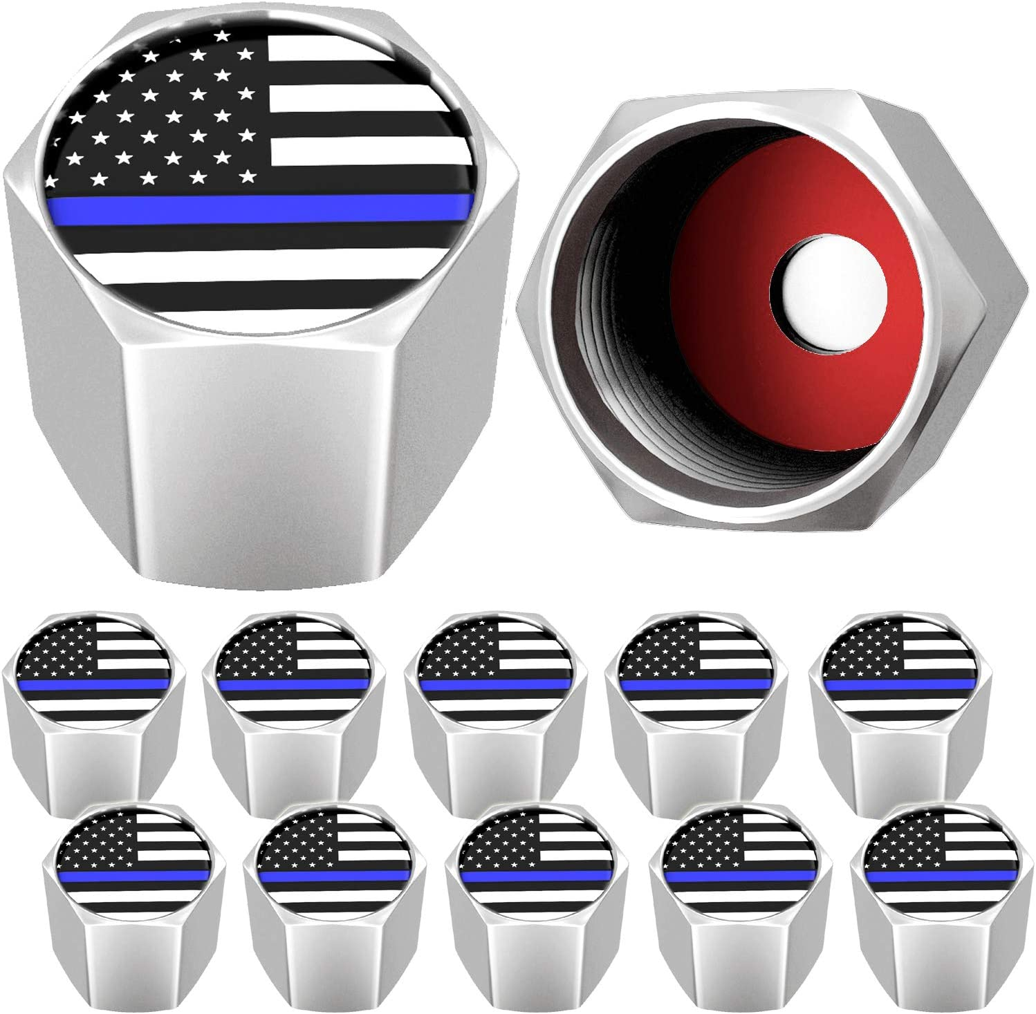 Seal Heavy Duty Bicycle SUVs Bike SAMIKIVA American Flag Chrome Tire Valve Stem Caps Chrome Gray 12 Pack Motorcycles Trucks USA with O Rubber Ring Universal Stem Covers for Cars