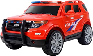 Uenjoy 12V Kids Police Ride on Car Electric SUV Car Battery Powered Motorized Vehicles W/ Remote Control, 2 Speeds, AUX, Siren, LED Light, Red