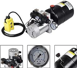 ECO LLC 6 Quart Double Acting 12V Hydraulic Power Unit 3200 PSI Max. Hydraulic Pump DC 12V Dump Trailer with Hydraulic Pressure Gauge