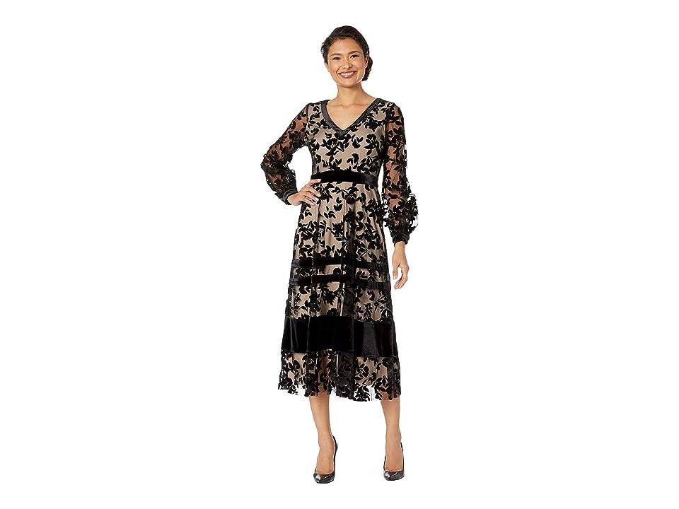 Taylor Long Sleeve Velvet Maxi Dress (Black/Nude) Women