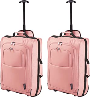 1c02a0bfd Set of 2 Super Lightweight Cabin Approved Luggage Travel Wheely Suitcase  Wheeled Bags Bag (Rosegold