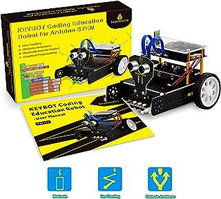 KEYESTUDIO Smart Robot Car Kit with Ultrasonic Sensor, Line Tracking Sensor, Bluetooth Module, Intelligent and Stem Educat...