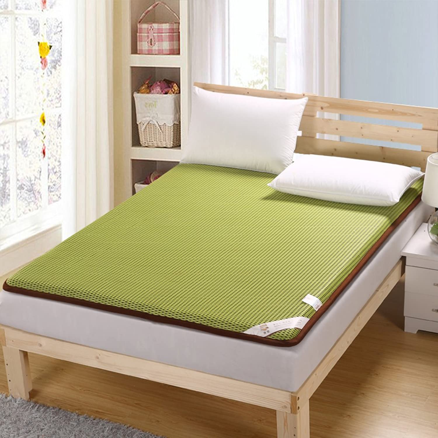 Thicked Tatami Mattress,4d Honeycomb 1.5m 1.8m Single Double Bed Cushion Student Breathable Mattress Tatami Floor mat-Green 100x200cm(39x79inch)