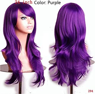 Women Long Wavy Cosplay Wig Brown Heat Resistant Fiber Natural Synthetic Hair Full Head Wig Ombre Party For Black Women,Purple,24inches