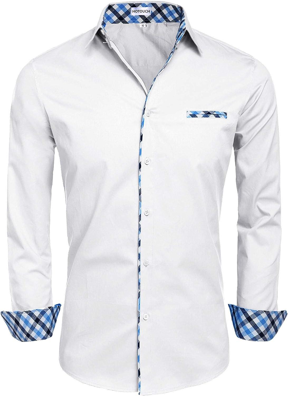 Hotouch Men's Long Sleeve Fashion Button Up Shirt Contrast Casual Button Down Shirts Slim Fit Dress Shirt