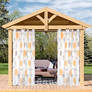 Pro Space 50x108 inch Botanical Leaves Print Outdoor Curtains for Patio&Pergola,Blackout Single Panel Waterproof Top Thermal Mildew Resistant Insulated Grommet Curtain
